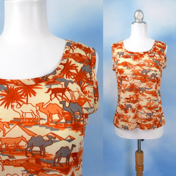Vintage 70s Egypt Land Novelty Print Tank Top (size medium, large)