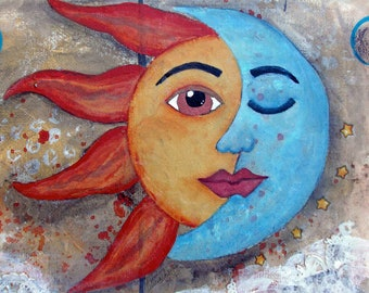 SOLUNA, Sun and Moon Art, Soulful, New Age, Meditation, Opposites Attract, Abstract Art, Zen, Mindful Art, Mixed media Artist, Alicia Hayes