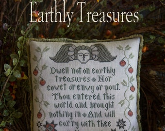 PLUM STREET SAMPLERS Earthly Treasures counted cross stitch pattern at cottageneedle.com tombstone cemetery angel Halloween