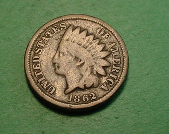 1862 Indian Head Cent  Good  <> The Coin you see is the coin you get <> Free S.H. to U.S.<> Insurance Included in SH <>ET005