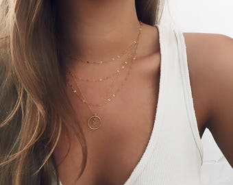 Custom Initial Necklace, Initial Round necklace, Personalized Necklace, 14 KT Gold Fill, Name Necklace, Letter Necklace, Boho Jewelry