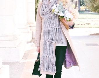Gray Knit Scarf With Tassels ⨯ Chunky Knit Scarf, Fall Fashion ⨯ Chunky Gray Scarf Fringe, Long Scarf ⨯ Winter Fashion Knitwear Scarf