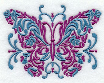 Butterfly Towel -  Embroidered Towel -  Damask Towel - Flour Sack  Towel - Hand  Towel - Bath Towel - Apron - Fingertip Towel