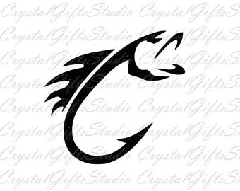 Fish hook svg, hook svg, bass svg, fish svg, fishing svg, hunting svg, fisherman svg, lake svg, dxf files, svg files, svg, cricut