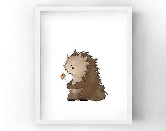 Porcupine Nursery Art Print - Animal Illustration for Kids Room
