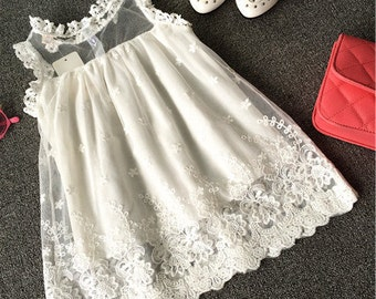 NEW Boutique Vintage Chic White Lace Girl Dress Size 3T