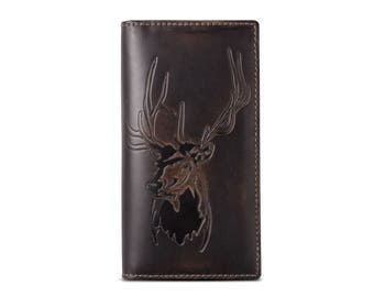 DEER Tall Wallet•BLACK•PERSONALIZED•Men's Leather Wallet•Groomsmen Gift•Men's Gift•Anniversary Gift•Monogram•Multiple Cash Compartments