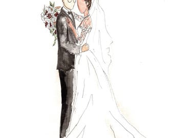 Wedding Illustration for Unique and Personal Bridal Gift for Bride and Groom. Paper Anniversary Gift Idea. Wedding Dress Sketch.