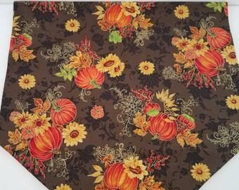 Autumn Table Runner, Thanksgiving Table Runner, Harvest Decor, Fall Decor, Pumpkins, Sunflowers, Leaves