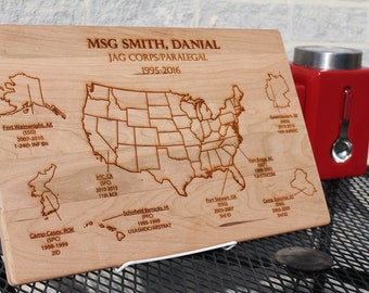 Military Where you have been Map.  Military gift, Army, Navy, Marines, Air Force, Coast Guard, DA Civilian, military cutting boards