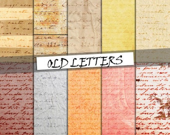 Old letters digital paper: vintage letters and handwriting on different backgrounds; for commercial use