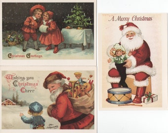 Christmas Postcards, 3 Unused Dover Reproductions 1990 of Early 1900s , good shape, Santa, Children, Toys