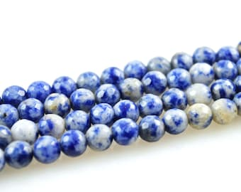 Dumortierite-Dumortierite Beads-6mm Faceted Dumortierite Bead-Denim Lapis-Round Faceted Denim Lapis Beads-6mm Round Denim Lapis Beads