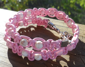 Baby pink Leather Double Wrap Bracelet in Baby Pink and White beads with swivel lobster clasp