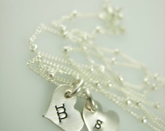 Mini Initial Necklace-Heart Necklace-Hand Stamped Jewelry