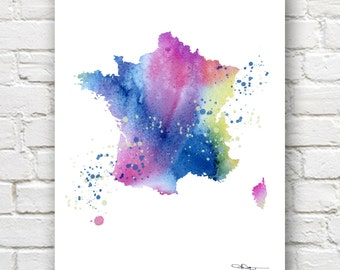 Map of France - Abstract Watercolor Art Print - Wall Decor