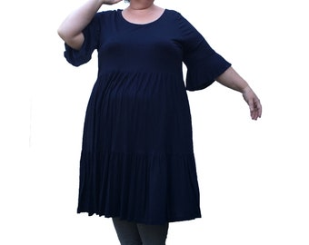 Limited Edition Navy Cotton Jersey Ruffle dress made to order