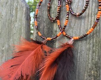 Long Bohenian Feather Hoop Earrings