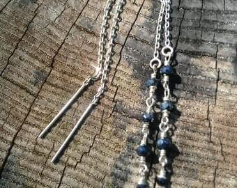 Sterling Silver Handmade Spinel Linear Threader Earrings