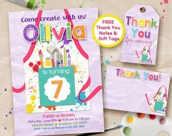 Art party invitation, painting party, digital printable invitation