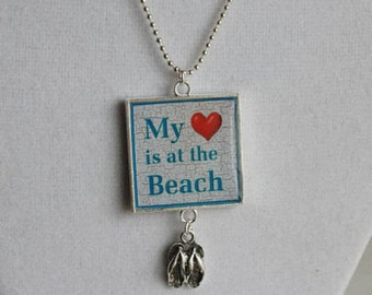 My Heart is at the Beach Square Resin Pendant with Flip Flop Charm, Beach Jewelry, Flip Flop Necklace, Beach Lover Gift, Beach Necklace