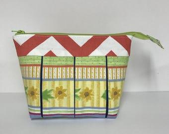 FREE SHIPPING!  Small  - Chevron Sunflowers Zipper/Pleated Multi-Purpose Bag