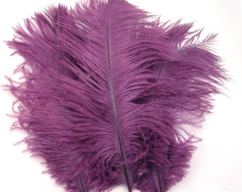 GRAPE PURPLE Ostrich Feather Drab (6-8 inches, 3 package option) feather for hat,fascinator,hat,corset,dresses,bouquets, costume,fans