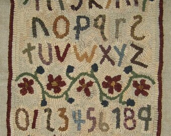 Primitive Folk Art Rug Hooking Pattern Hearts