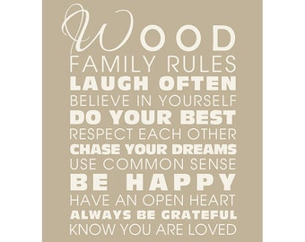 Personalized Family Rules Sign (Free Domestic Shipping)