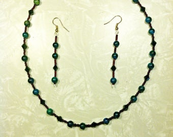 Green Malachite Necklace and Earring Set