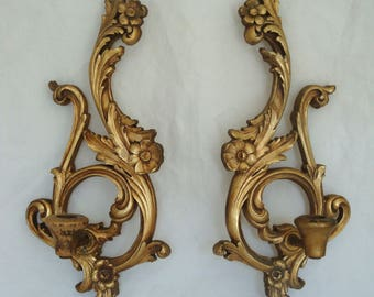 Vintage Pair of Gold Ornate Wood Candle Sconces - Hollywood Regency