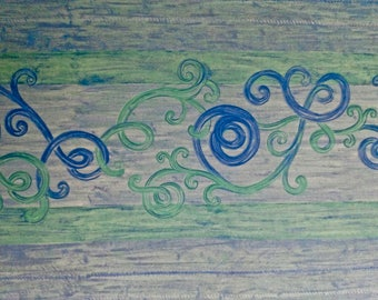 Blue and Green Swirls Tablecloth 54 inches SQUARE