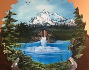 12 inch round saw blade with hand painted mountain and water fall