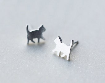 Tiny Cat Silhouette Sterling Silver Earrings, Cat Earrings, Kitty Earrings,Kitten Earrings,Cat Stud,Cat Jewelry,Gato,Cat Gift,Cat Lover Gift