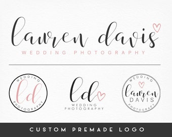Premade Logo Design, Heart Logo, Calligraphy Logo, Handwritten Logo, Photography Logo, Submarks + Watermarks, Branding Kit