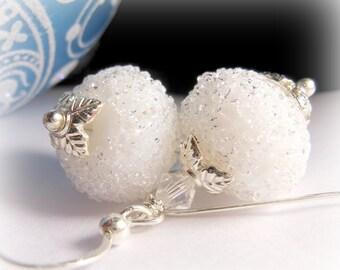 Winter White Earrings, Snowball Crystal Earrings, Winter Wedding Earrings, Snowflake Earrings, Ice Earrings, Silver Earrings, Lampwork Glass