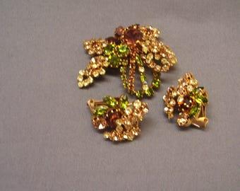 Vintage Estate Jewelry Rhinestone Demi Parure Brilliant Brooch and Earrings Gold Tone Back