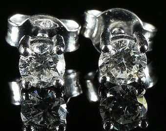Antique Diamond Stud Earrings 18ct White Gold 0.80ct