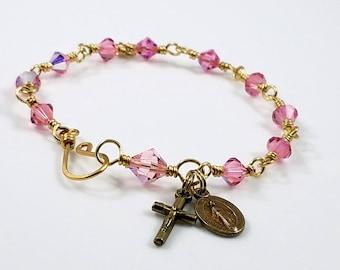 Miraculous Medal Women's Bracelet, Catholic Bracelet, Catholic Gift, Unbreakable Wire-Wrapped, Handmade, Pink Swarovski , Rosary Bracelet