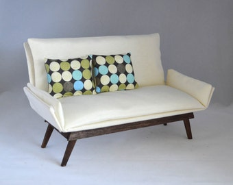 """1:6 scale sofa_mid-century_multiple finishes available_off white fabric, sewed_playscale dollhouse couch, doll diorama for 10"""" to 12"""" dolls."""
