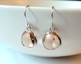 Gift Peach earrings Champagne earrings Blush earrings Silver earrings Dangle earrings Drop earrings Bridesmaid earrings Bridal earrings Gift