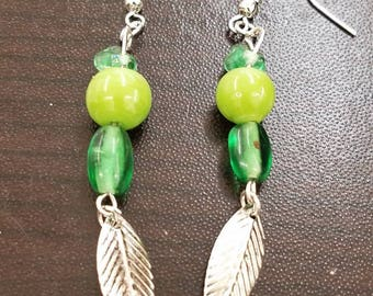 Silver and Green feather earrings