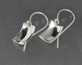 Rectangle Dangle Earrings - Sterling Silver Scoops