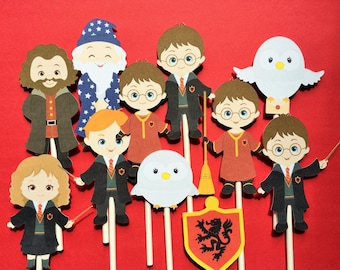 Harry Potter cupcake toppers, 12 Harry Potter inspired cupcake toppers, harry potter party supply, Harry Potter cake topper, Hermione topper