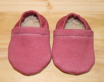 Maroon baby moccasins