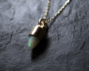 RESERVED for M...SALE - 20%OFF - White Fire Opal Bullet Necklace in 14K Solid Yellow Gold...One of a Kind