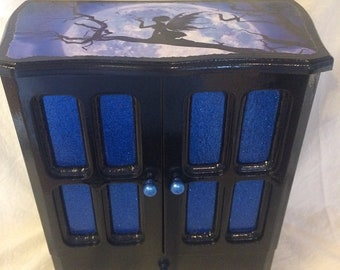 Fairies Black and Blue Upcycled Jewelry & Trinket Box