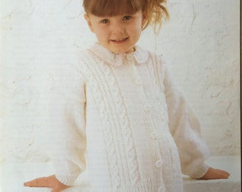 Girls Cardigan Knitting Pattern, Sirdar Knitting Pattern, Childrens Cable Cardigan, Girls Cable Cardigan, Childrens Cardigan, Sirdar No 3532