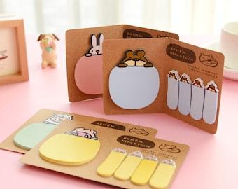 Memo Pads, Post it Notes, Memo Pad, Sticky Notes, Notepad, Cute Animal Notepad, Sheep, Bear, Rabbit,