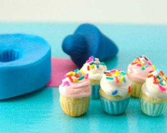1:12 Scale Miniatures // Dollhouse Cupcake Mold Flexible Silicone // Polymer Clay Food Mold